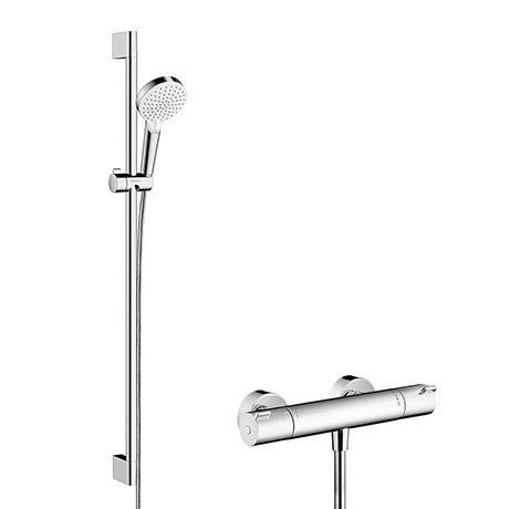 Hansgrohe Crometta Vario Thermostatic Shower System with 90cm Shower Slider Rail Kit - 27813400