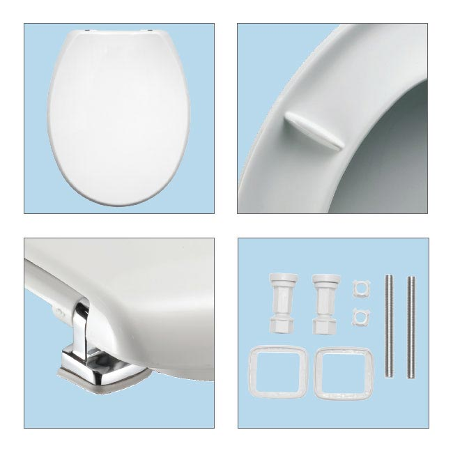 Bemis Buxton Toilet Seat with Adjustable Chrome Hinges - 2850CPT000 Standard Large Image