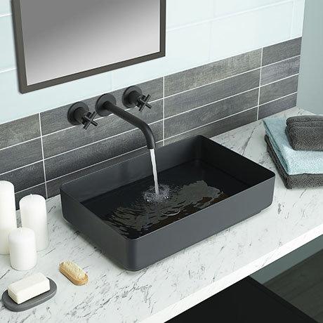 JTP Vos Matt Black Rectangular Stainless Steel Counter Top Basin + Waste