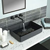 JTP Vos Matt Black Rectangular Stainless Steel Counter Top Basin + Waste profile small image view 1