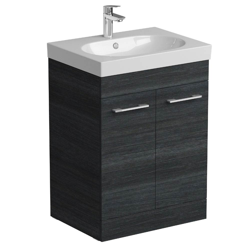 Tissino Angelo 600mm Floor Mounted Washbasin Unit - Barossa Oak Large Image