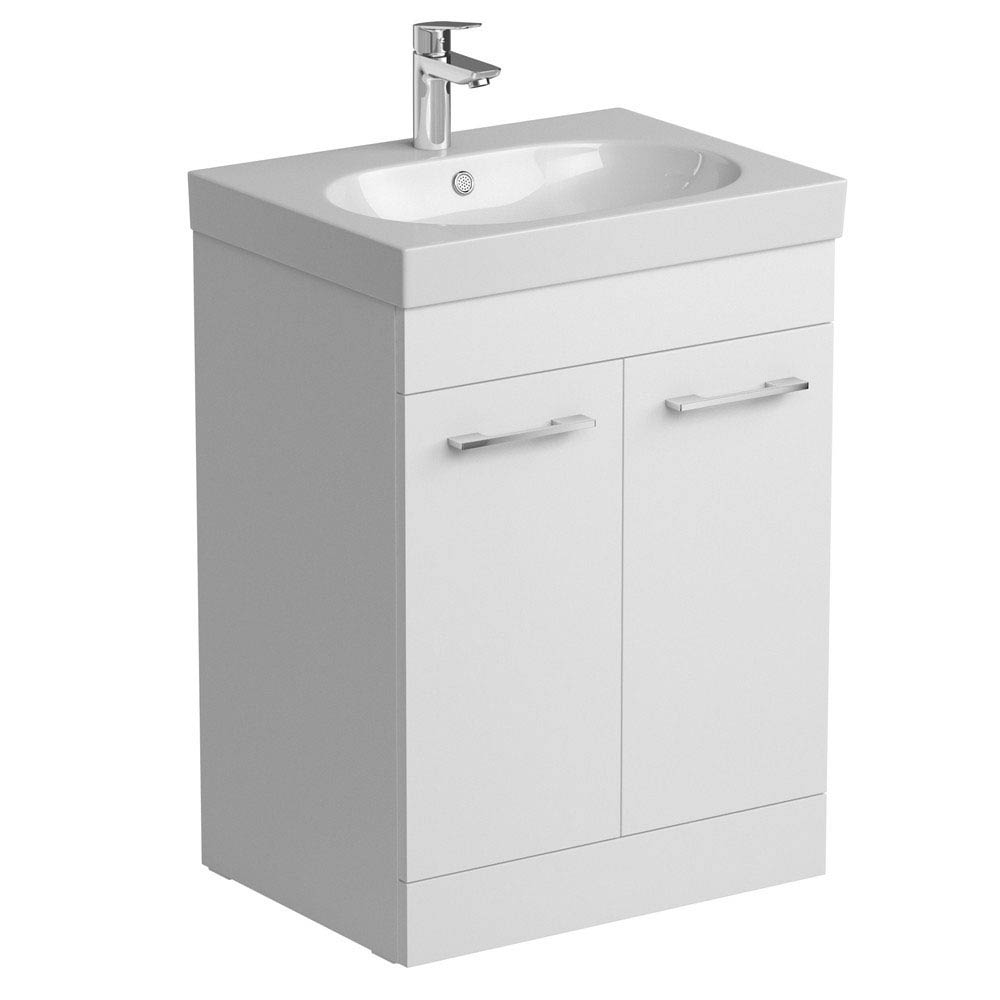 Tissino Angelo 600mm Floor Mounted Washbasin Unit - Gloss White Large Image