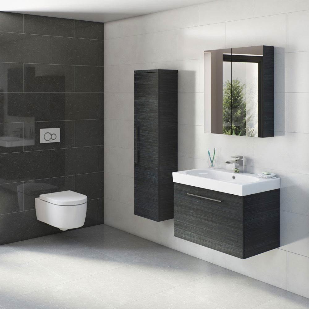 Tissino Angelo 600mm Wall Hung Washbasin Unit - Barossa Oak  Profile Large Image