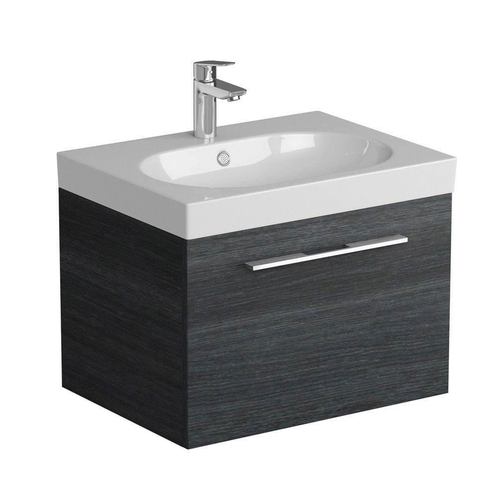 Tissino Angelo 600mm Wall Hung Washbasin Unit - Barossa Oak Large Image