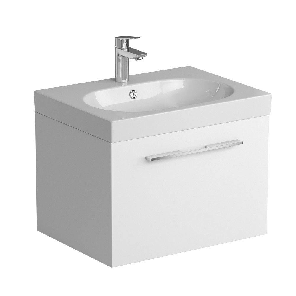 Tissino Angelo 600mm Wall Hung Washbasin Unit - Gloss White profile large image view 1