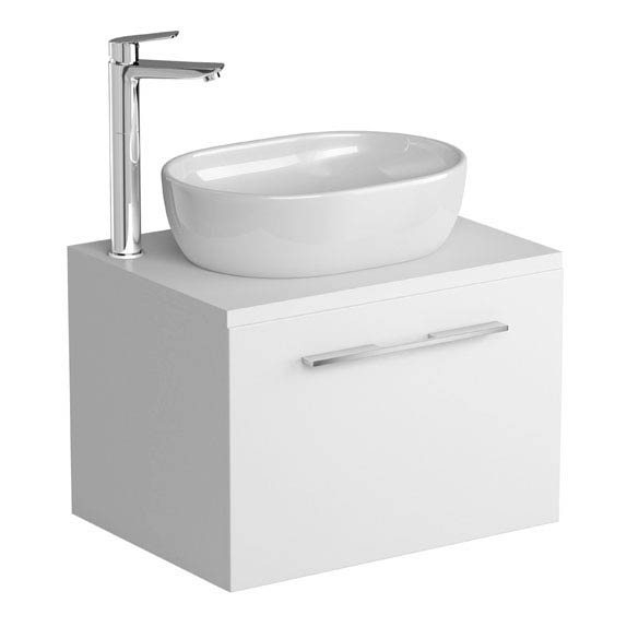 Tissino Angelo 600mm Wall Hung Unit + Countertop Basin - Gloss White profile large image view 1