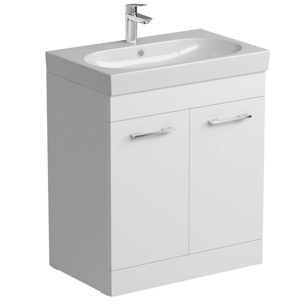 Tissino Angelo 700mm Floor Mounted Washbasin Unit - Gloss White Large Image