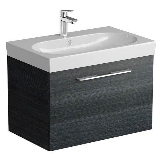 Tissino Angelo 700mm Wall Hung Washbasin Unit - Barossa Oak Large Image