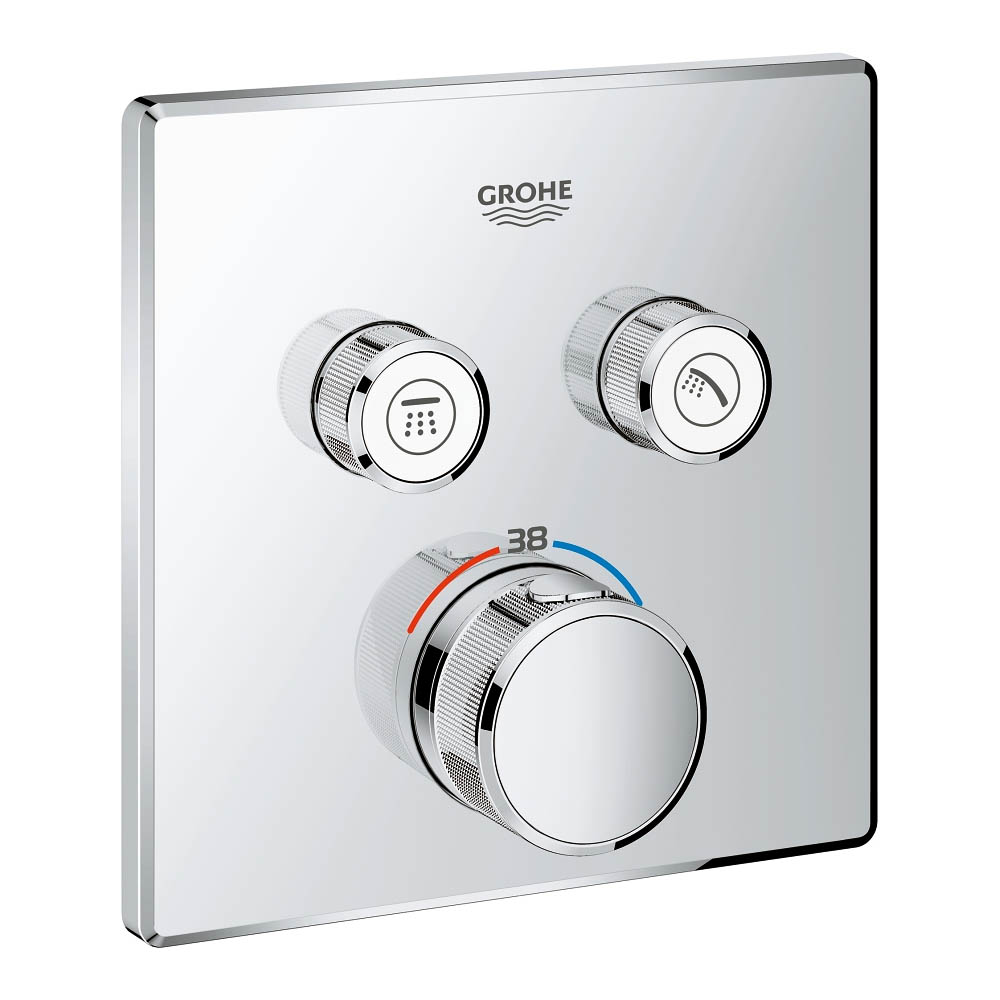 Grohe Grohtherm SmartControl Thermostat Square 2 Outlet Concealed Mixer Trim - 29124000