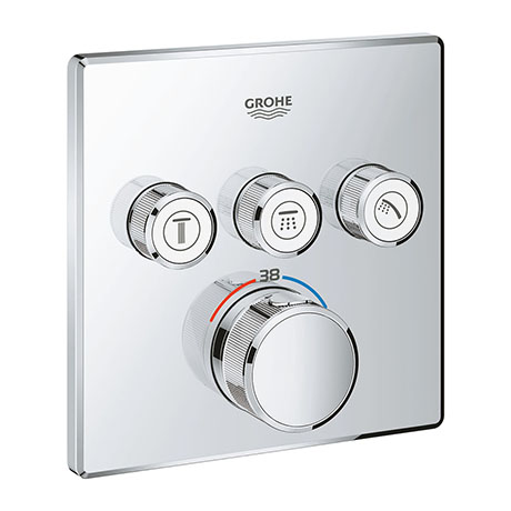 Grohe Grohtherm SmartControl Thermostat Square 3 Outlet Concealed Mixer Trim - 29126000