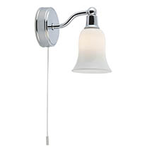 Searchlight Belvue Chrome Wall Light with White Glass Shade - 2931-1CC-LED