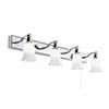 Searchlight Belvue Chrome 4 Light Wall Bar with White Glass Shades - 2934-4CC-LED profile small image view 1