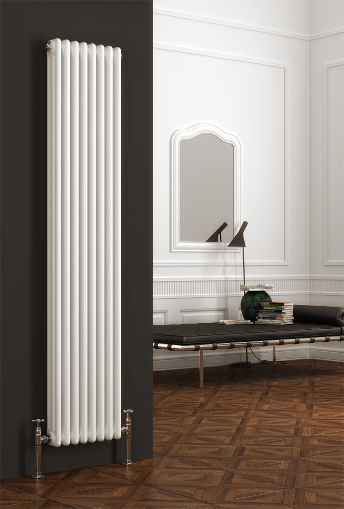 Reina Colona 3 Column Vertical Radiator - White Large Image