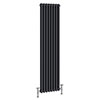 Keswick 1500 x 378mm Cast Iron Style Traditional 2 Column Anthracite Radiator profile small image view 1