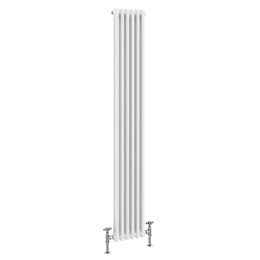 Keswick Cast Iron Style Traditional 2 Column White Radiator (1800 x 372mm) profile large image view 1