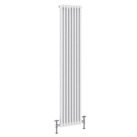 Keswick 1800 x 372mm Cast Iron Style Traditional 2 Column White Radiator