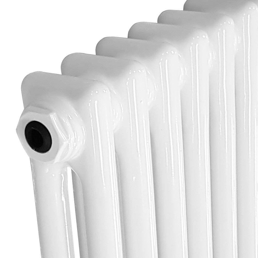 Keswick Cast Iron Style Traditional 2 Column White Radiator (600 x 592mm) profile large image view 2