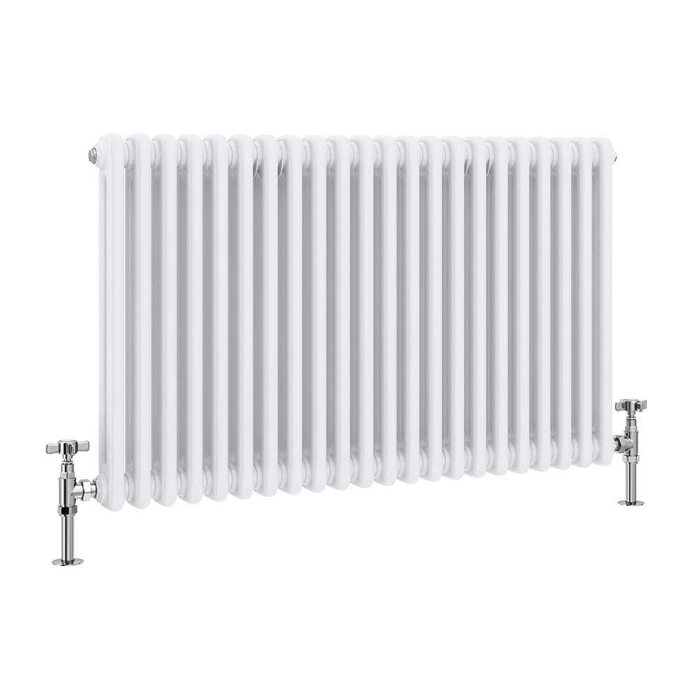 Keswick Cast Iron Style Traditional 2 Column White Radiator (600 x 988mm) profile large image view 1