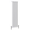 Keswick 1500 x 372mm Cast Iron Style Traditional 2 Column White Radiator profile small image view 1