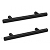 2 x Arezzo Industrial Style Knurled 'T' Bar Matt Black Handles (96mm Centres) profile small image view 1