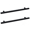 2 x Arezzo Industrial Style Knurled 'T' Bar Matt Black Handles (192mm Centres) profile small image view 1