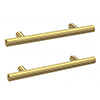 2 x Arezzo Industrial Style Knurled 'T' Bar Brushed Brass Handles (96mm Centres) profile small image view 1