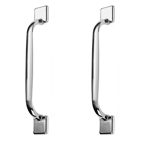 2 x York Chrome Square Strap Handles - L172mm (128mm Centres)