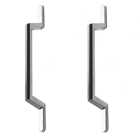 2 x York Chrome Round Strap Additional Handles - L200mm (128mm Centres)
