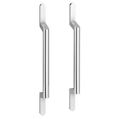 2 x York Chrome Round Strap Additional Handles - L200mm (128mm Centres)