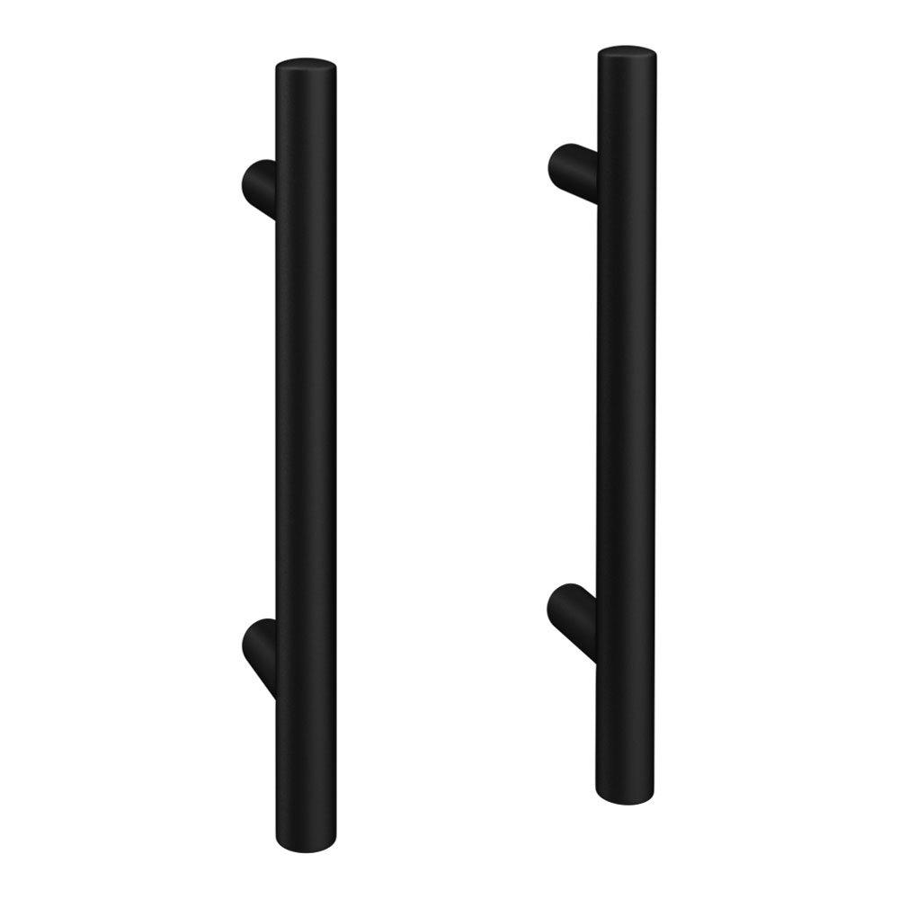 2 x Round 'T' Bar Matt Black Additional Handles - L155mm (96mm Centres)