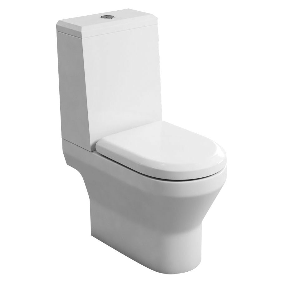 Britton Bathrooms - Curve S30 Close Coupled Toilet with Angled Lid Cistern & Soft Close Seat (Open Back) Large Image