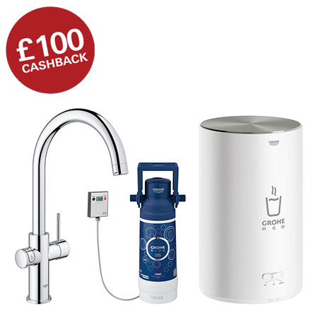 Grohe Red 2.0 Duo Instant Boiling Water Kitchen Tap and M Size Boiler - Chrome - 30058001