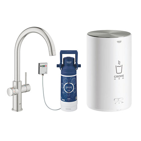 Grohe Red 2.0 Duo Instant Boiling Water Kitchen Tap and M Size Boiler - SuperSteel - 30058DC1