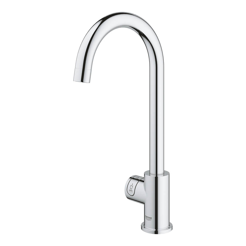 The Grohe RED Mono Pillar Instant Boiling Water Kitchen Tap and M Size Boiler