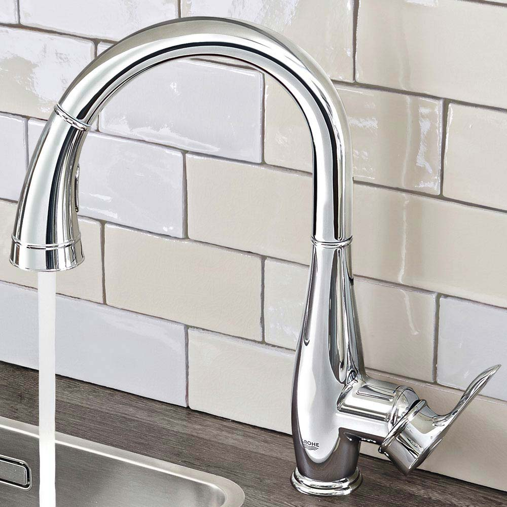 Grohe Parkfield Kitchen Sink Mixer with Pull Out Spray - Chrome - 30215000 profile large image view 2
