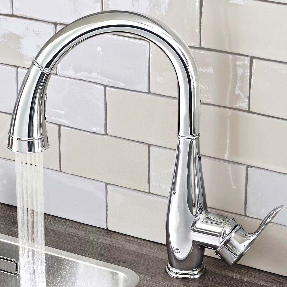 Grohe Parkfield Kitchen Sink Mixer with Pull Out Spray - Chrome - 30215000 profile large image view 3