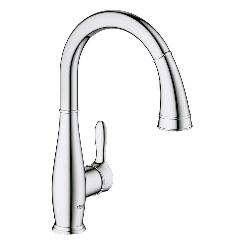 Grohe Parkfield Kitchen Sink Mixer with Pull Out Spray - Chrome - 30215000 profile large image view 1