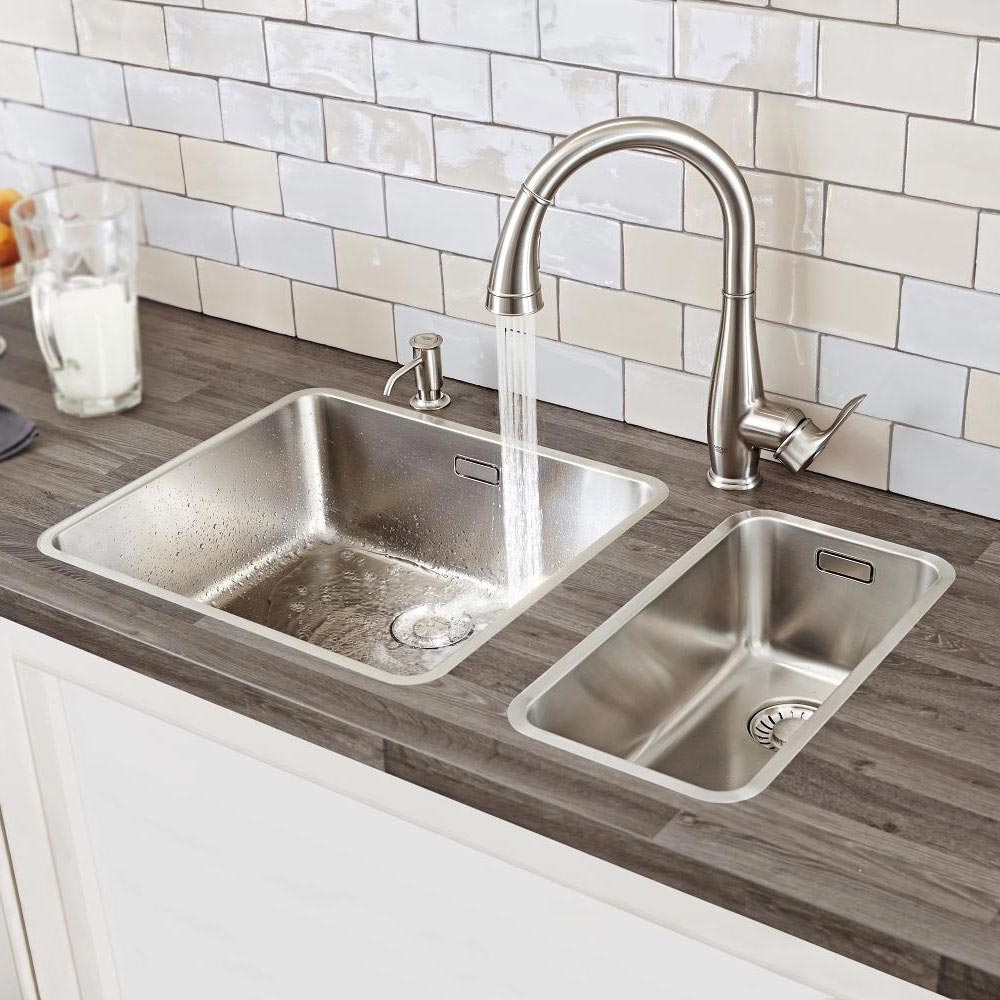 Grohe Parkfield Kitchen Sink Mixer with Pull Out Spray - SuperSteel - 30215DC0 profile large image view 4
