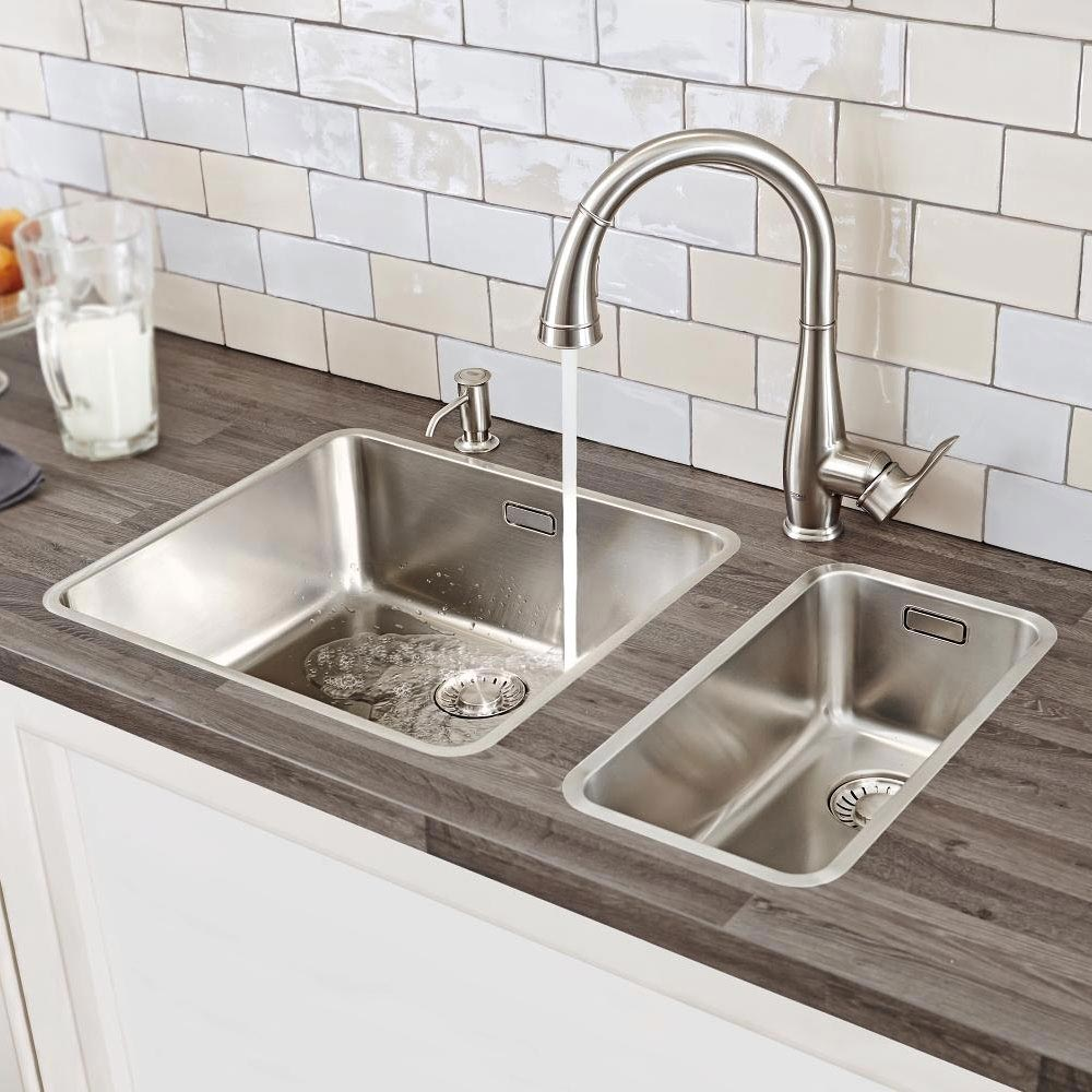 Grohe Parkfield Kitchen Sink Mixer with Pull Out Spray - SuperSteel - 30215DC0 profile large image view 5