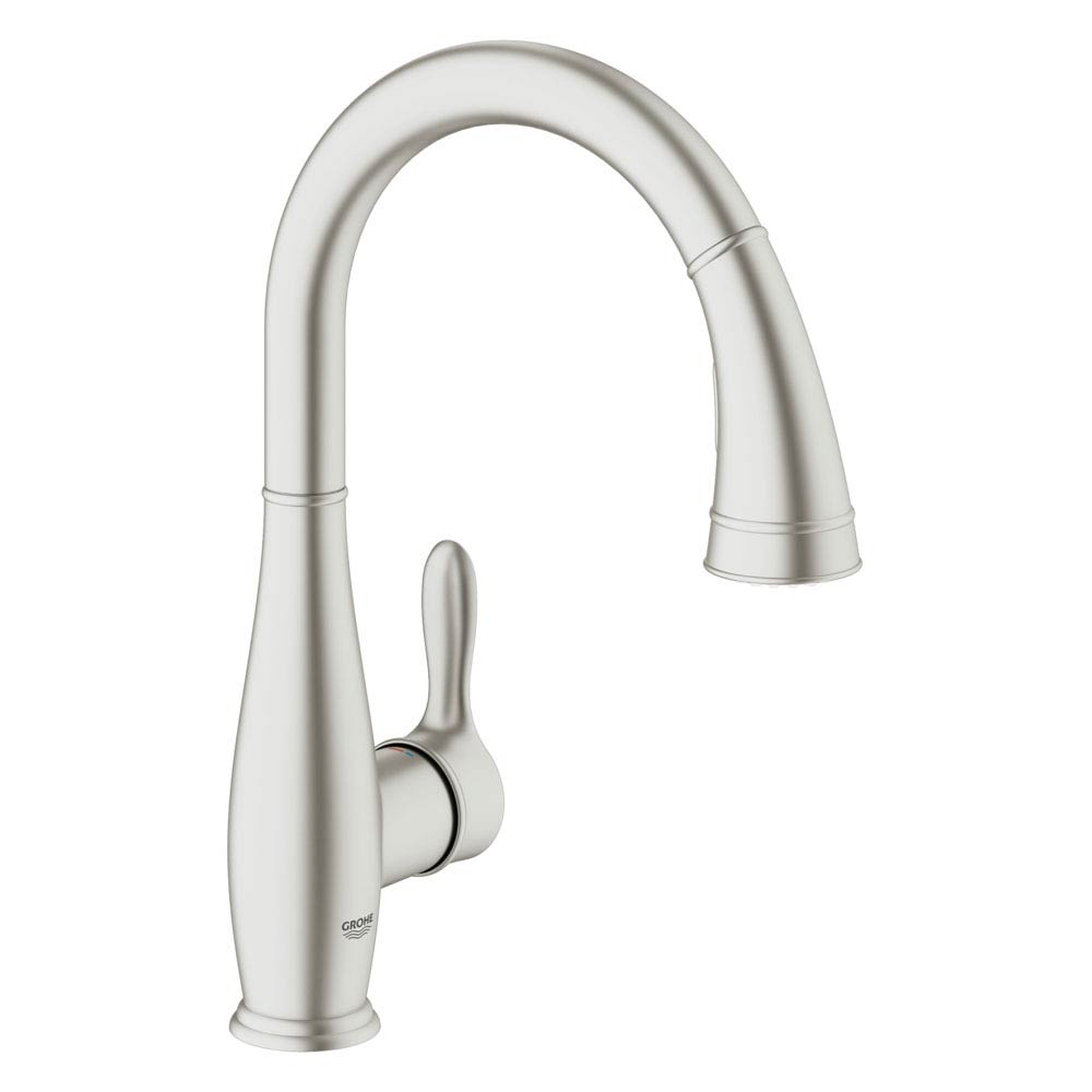 Grohe Parkfield Kitchen Sink Mixer with Pull Out Spray - SuperSteel - 30215DC0 Large Image