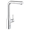 Grohe Essence Kitchen Sink Mixer with Pull Out Spray - Chrome - 30270000 profile small image view 1