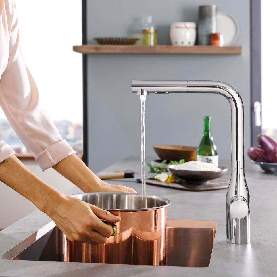 Grohe Essence Footcontrol Electronic Kitchen Sink Mixer with Pull Out Spray - Chrome - 30311000 profile large image view 3