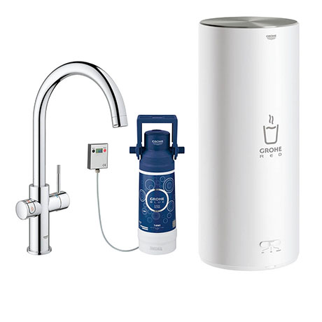 Grohe Red 2.0 Duo Instant Boiling Water Kitchen Tap and L Size Boiler - Chrome - 30328001
