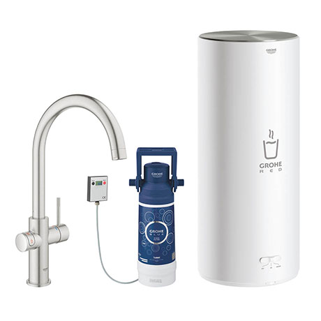 Grohe Red 2.0 Duo Instant Boiling Water Kitchen Tap and L Size Boiler - SuperSteel - 30328DC1