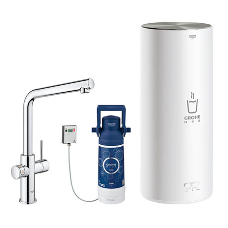 Grohe Red 2.0 Duo Instant Boiling Water Kitchen Tap and L Size Boiler - Chrome - 30340001