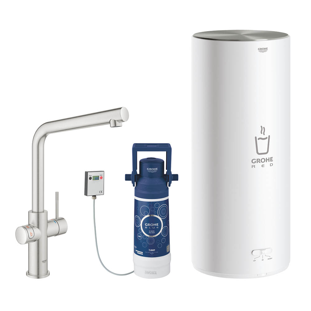 Grohe RED Duo Instant Boiling Water Kitchen Tap and L Size Boiler - SuperSteel - 30340DC1