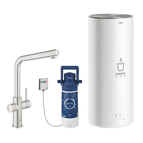 Grohe Red 2.0 Duo Instant Boiling Water Kitchen Tap and L Size Boiler - SuperSteel - 30340DC1