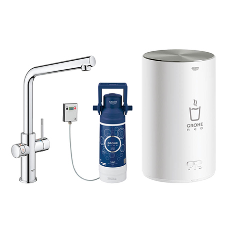 Grohe RED Duo Instant Boiling Water Kitchen Tap and M Size Boiler - Chrome - 30341001