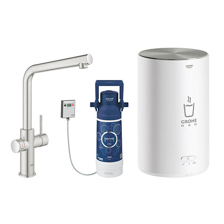 Grohe Red 2.0 Duo Instant Boiling Water Kitchen Tap and M Size Boiler - SuperSteel - 30341DC1