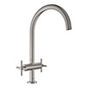 Grohe Atrio Two Handle Kitchen Sink Mixer - SuperSteel - 30362DC0 profile small image view 1
